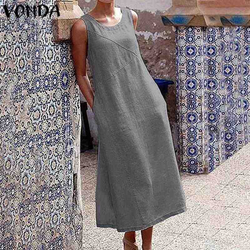 VONDA נשים ללא שרוולים כותנה שמלה מזדמן חג ארוך שמלות המפלגה שמלת טנק שמלה קיצית צמרות בוהמי Vestidos בתוספת גודל גלימה