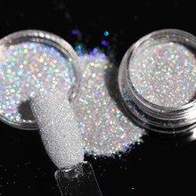 1 caixa cinza gradiente brilhante prego brilho em pó laser sparkly arte do prego cromo pigmento prata diy decoração da arte do prego