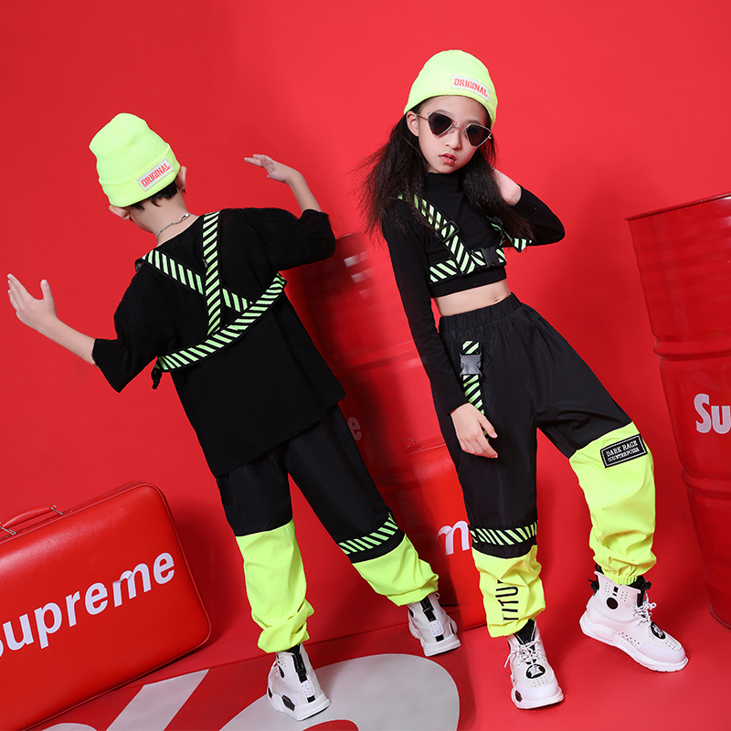 Children'S Hip Hop Street Dance Costumes New Boys And Girls Set Autumn Hiphop Jazz Dance Kids Show Performance Clothing