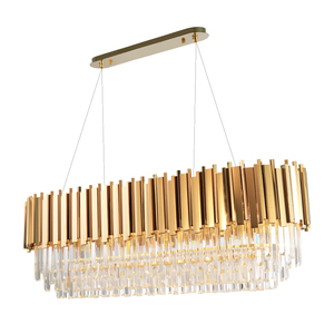 Image 1 - Manggic Modern Crystal Lamp Chandelier For Living Oval Luxury Gold Round Stainless Steel Line Chandeliers Lighting