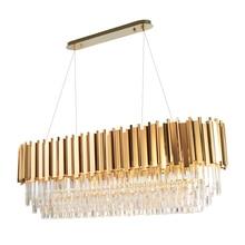 Manggic nowoczesna kryształowa lampa żyrandol do życia owalna luksusowa złota okrągła linia ze stali nierdzewnej żyrandole oświetlenie