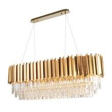 Manggic現代クリスタルランプシャンデリアリビングオーバル高級ゴールドラウンドステンレス鋼線シャンデリア照明
