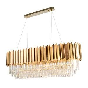 Image 1 - Manggic現代クリスタルランプシャンデリアリビングオーバル高級ゴールドラウンドステンレス鋼線シャンデリア照明