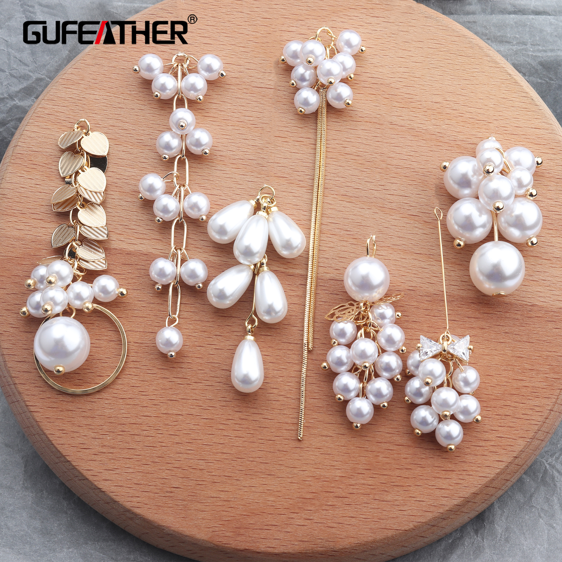 GUFEATHER M640,jewelry Making,14k Gold Plated,ear Chain,diy Beads Pendant,copper Metal,hand Made,charms,diy Earrings,6pcs/lot