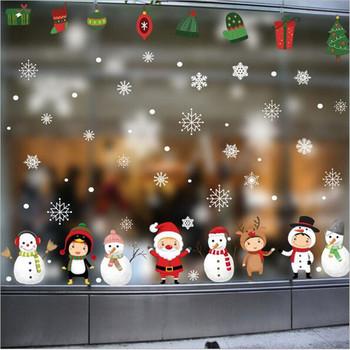 Boże narodzenie śnieżynka bałwan ścienne naklejki kalkomanie święty mikołaj Snowman szklane drzwi dekoracja naklejki jelenie naklejki ścienne tanie i dobre opinie Jednoczęściowy pakiet Płaska naklejka ścienna cartoon For Wall Zwierząt Christmas Decor