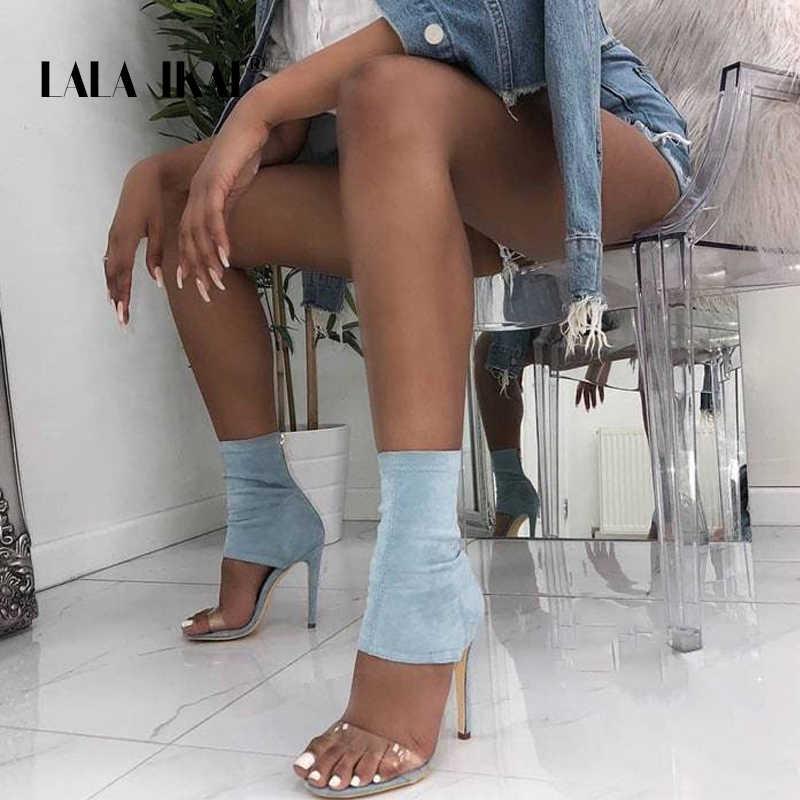 LALA IKAI 2020 yeni streç kumaş kadın sandalet yüksek topuklu ince şeffaf PVC açık ayak kısa çizmeler bayan ayakkabıları XWC6788-4