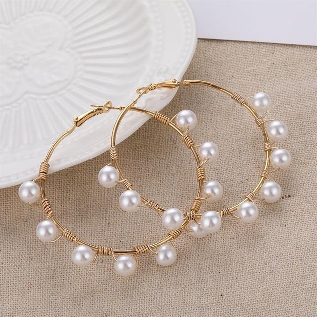Big Simulated Pearl Earrings 5