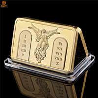 Barra de lingote con diseño de cruz de Jesús y Ángel, carcasa de acrílico para manualidades de moda europea, Moneda conmemorativa de oro, para regalos religiosos