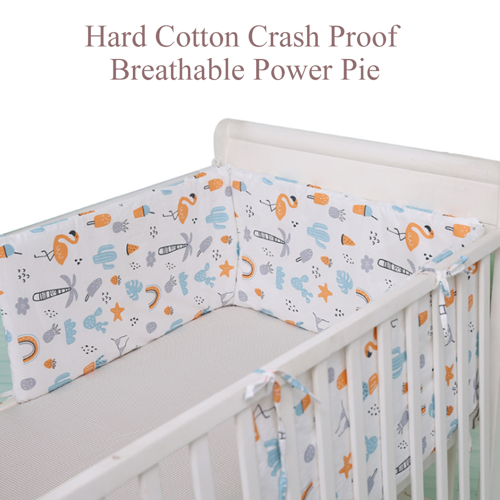 Baby Safe Nursery Bed Washable Cotton Blend Anti-collision Soft Crib Bumper Pads Protector Breathable U-shaped Decor Home