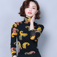 цены Tops Mesh lace New arrival 2019 Autumn Women's blouse Long sleeve shirt  High-neck Casual blouse Loose Female Mesh lace Tops