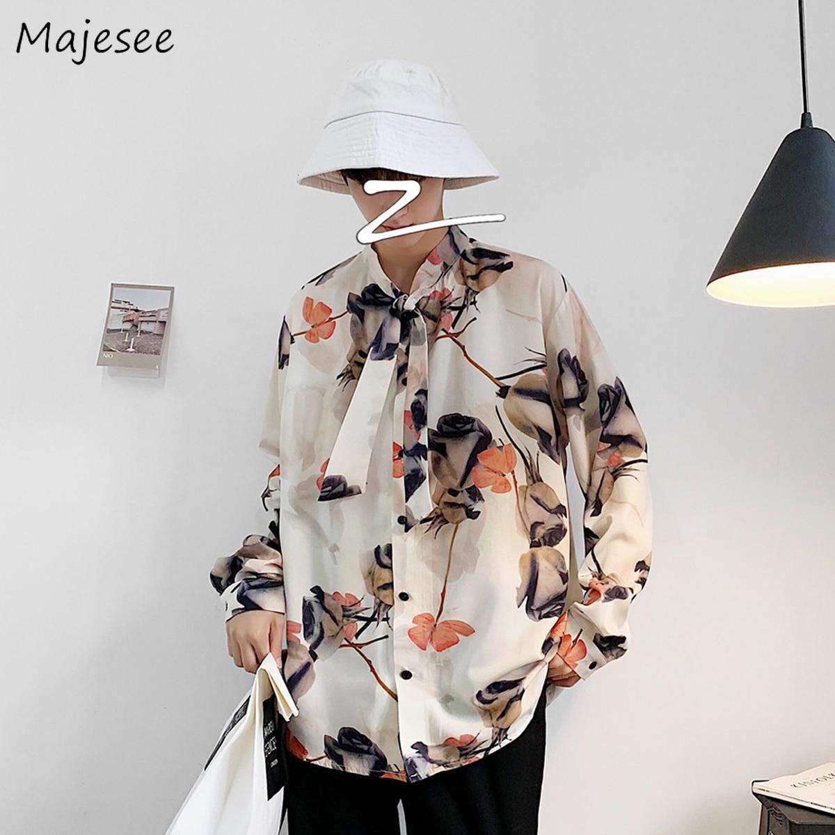 Shirt Men Autumn Printing Long Sleeve Turn-down Collar Mens Shirts Casual Slim Fit Korean Style Fashion Males Harajuku Clothes