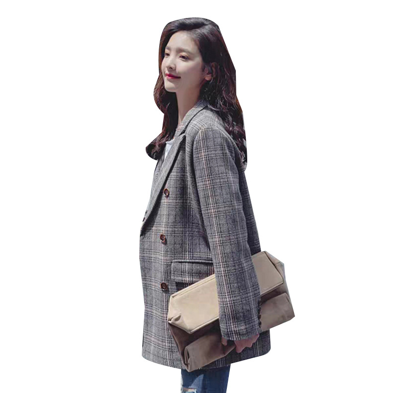 2020 New Women's Plaid Small Suit Spring and Autumn Fashion Long Sleeve Double-Breasted Blazer Feminine retro jacket