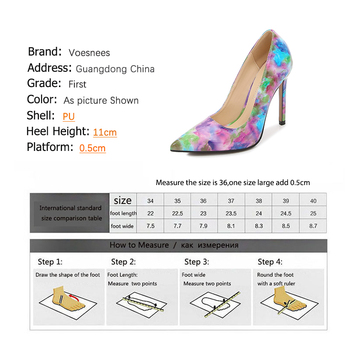 Voesnees Brand women's shoes New Fashion high heels 11cm Pumps Pointed Toe Shallow Mouth Dress Shoes Woman Printed Female pumps 6