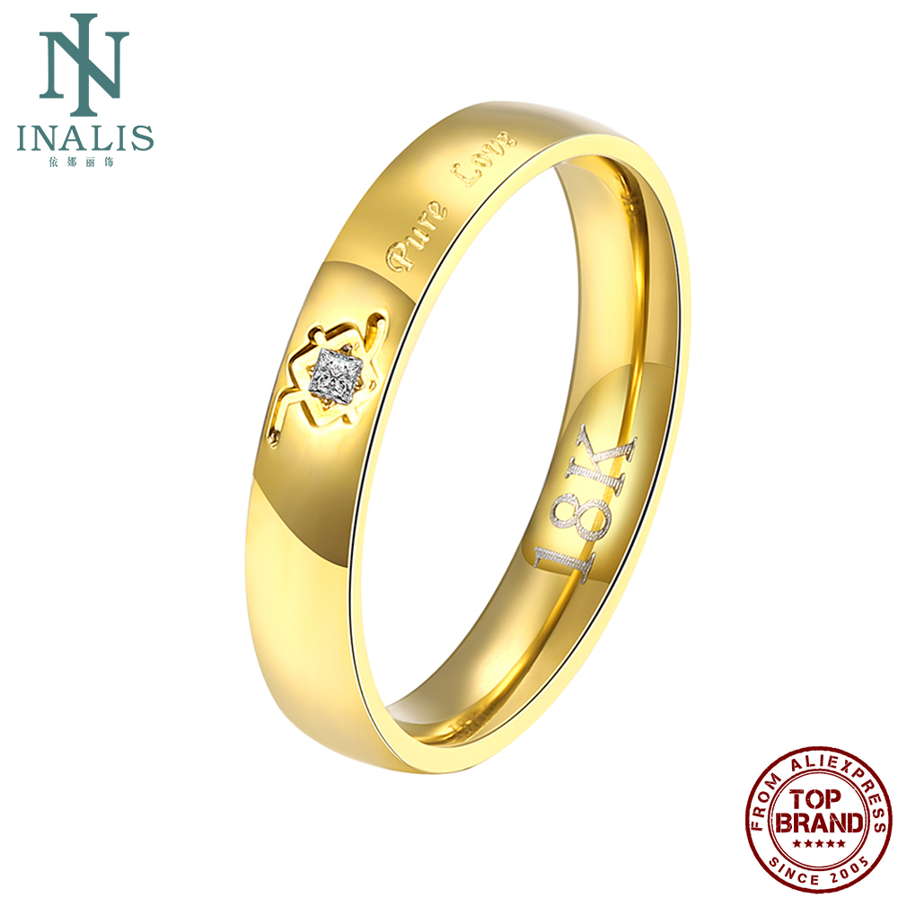 INALIS Trendy Gold Color Plated Women Rings True Love Wedding Ring Fashion Jewelry Zircon On Sale Gift For Girlfriend 2021