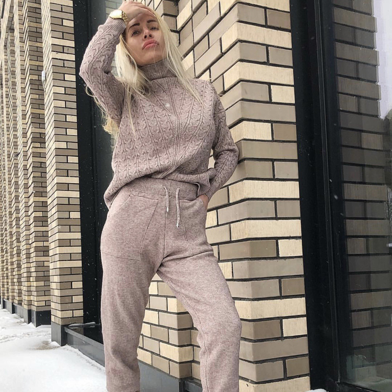 Fall Winter Knitted Sweater Tracksuit Turtleneck Sweatshirts For Women outfits Suit Clothing 2 Piece Set Knit Top Pants Suit