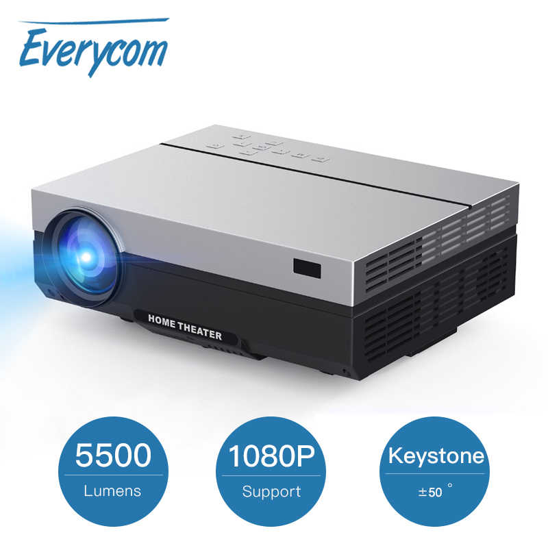 Everycom T26L Full HD projektör 1920x1080P projektör taşınabilir 5500 lümen HDMI Beamer Video projektör LED ev sineması film