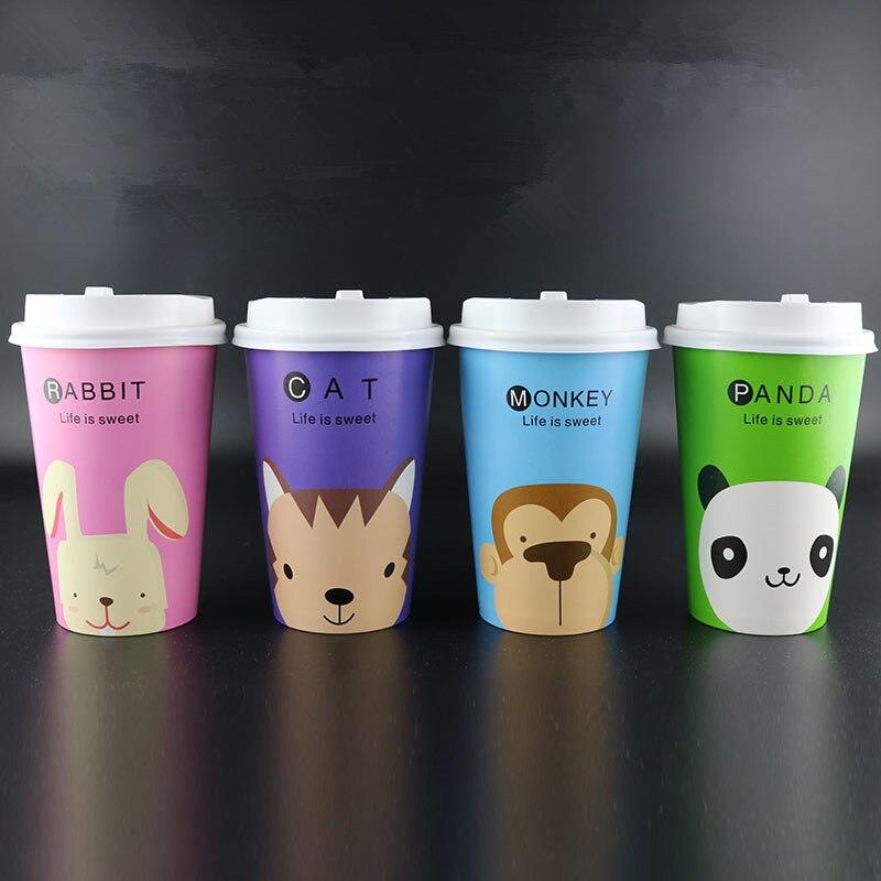 50pcs mignon animal dessin animé papier tasse jetable thé tasse épaississement froid et chaud boisson café jus boisson emballage tasse avec couvercle