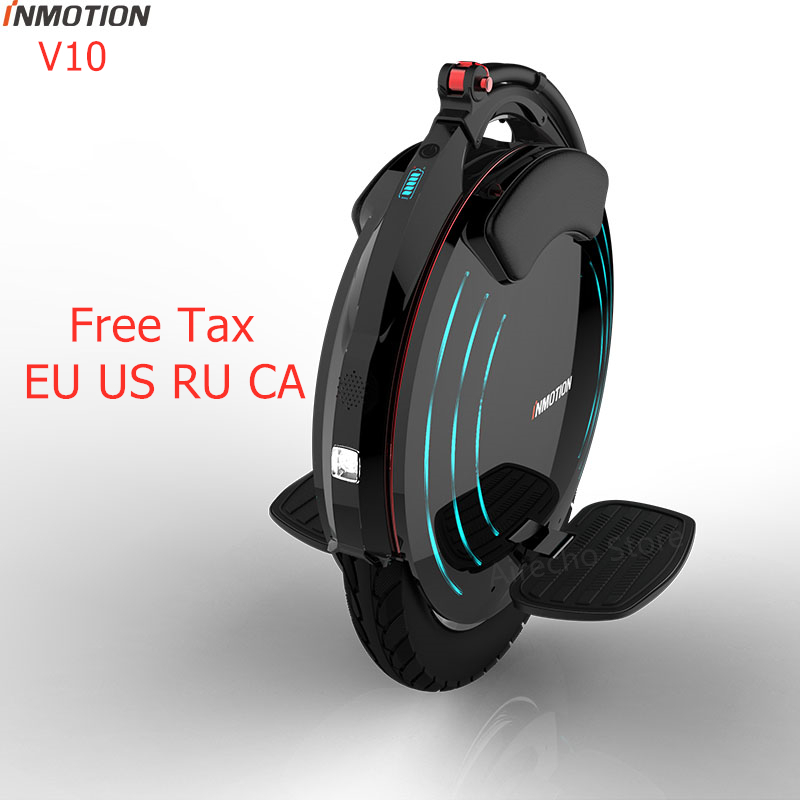 Original INMOTION V10 Unicycle Self Balancing Electric Scooter 1800W Build-in Handle Hoverboard With Decorative Lamps Long Board