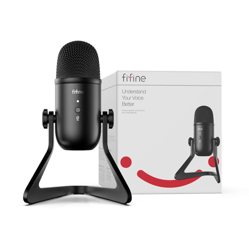 Microphone USB FIFINE pour enregistrement/Streaming/jeu, microphone professionnel pour PC & Mac, sortie casque micro & Control-K678 de Volume - 6