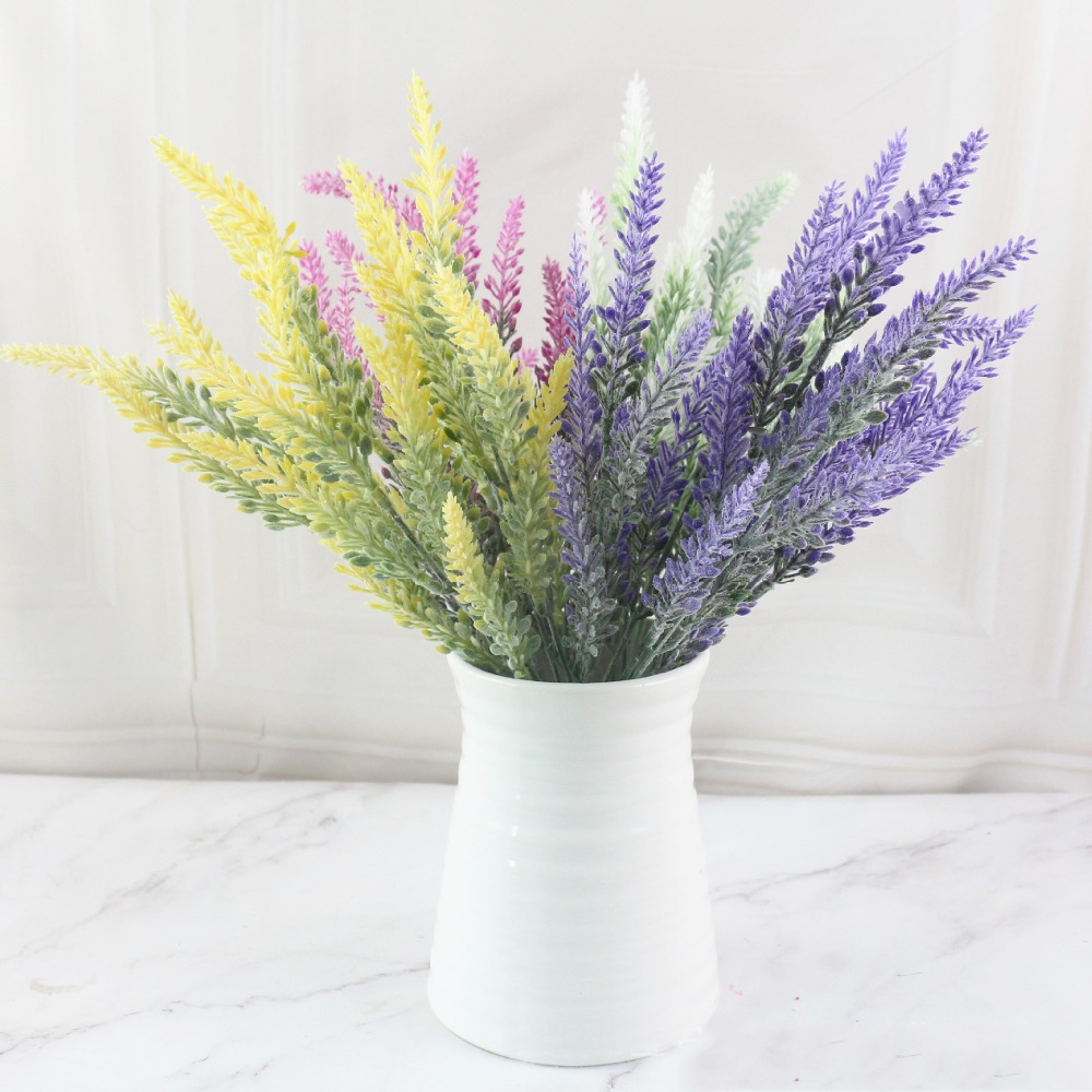 Bridal Bouquet Decorations Lavender Artificial-Flowers Wedding-Party Fake Home-Decor title=