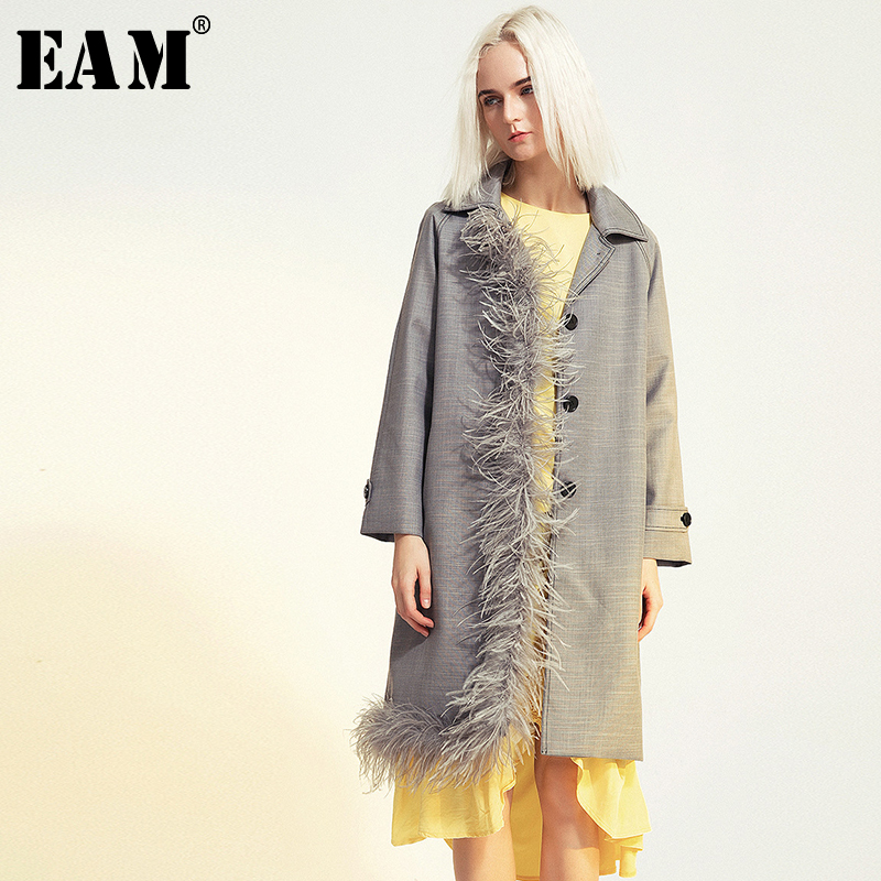 [EAM] Women Letter Print Stitch Big Size Trench New Hooded Long Sleeve Loose Fit Windbreaker Fashion Autumn Winter 2019 1B292