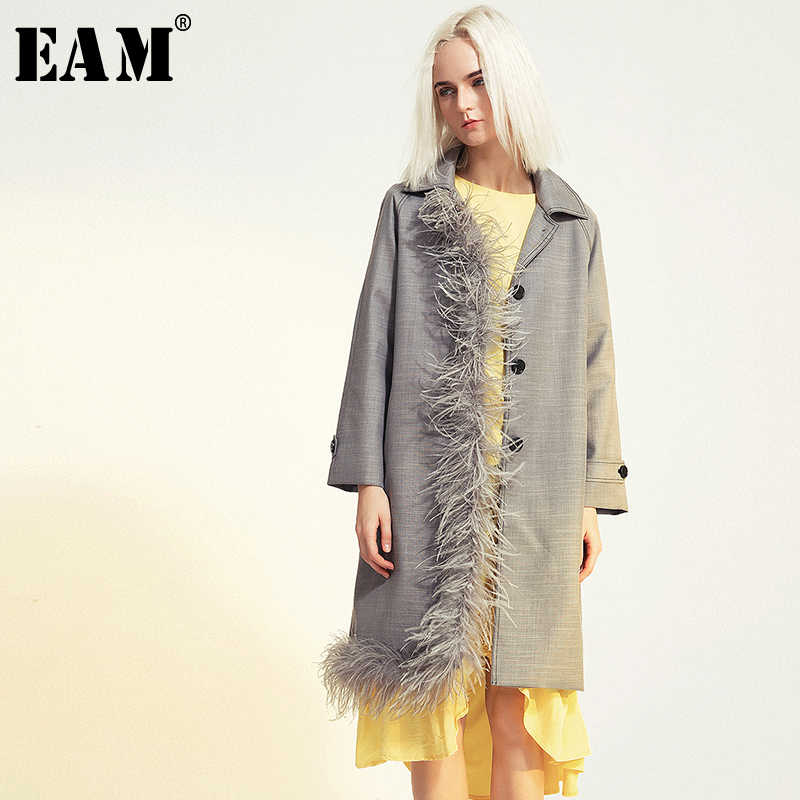 [EAM] Women Feather Spliced Asymmetric Trench New Lapel Long Sleeve Loose Fit Windbreaker Fashion Tide Autumn Winter 2019 1B098
