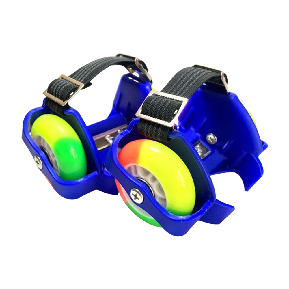 2PCS Durable Gift Kids Adjustable Flashing Wheel Outdoor Heel Skate Rollers Unisex Shoes Funny PU Toy
