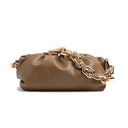 New Fashion Elegant Women Chain Bag Leather Clutch Evening Party Purse Women Cloud Underarm shoulder bag Totes HOT