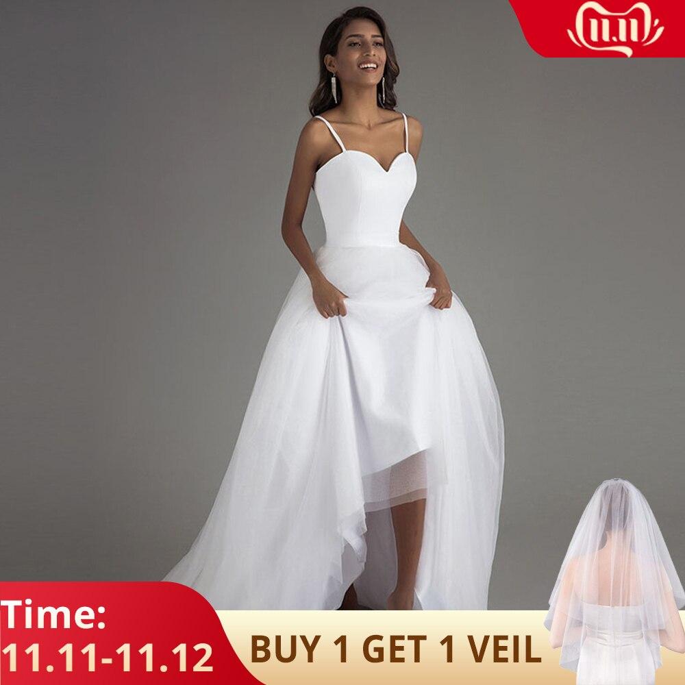 Booma Spaghetti Strap Beach Wedding Dresses 2019 Vestido Noiva Praia White Tulle With Sashes Boho Bridal Gown A-line Bride Dress