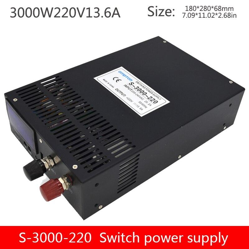 220v haute tension sortie alimentation à découpage 3000W avec affichage numérique 0-220V réglable alimentation S-3000-220V