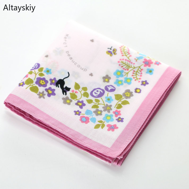 Handkerchiefs Women Elegant Floral Printing Soft Cotton Thin Retro Womens Square Handkerchief Simple Trendy Student Leisure Chic