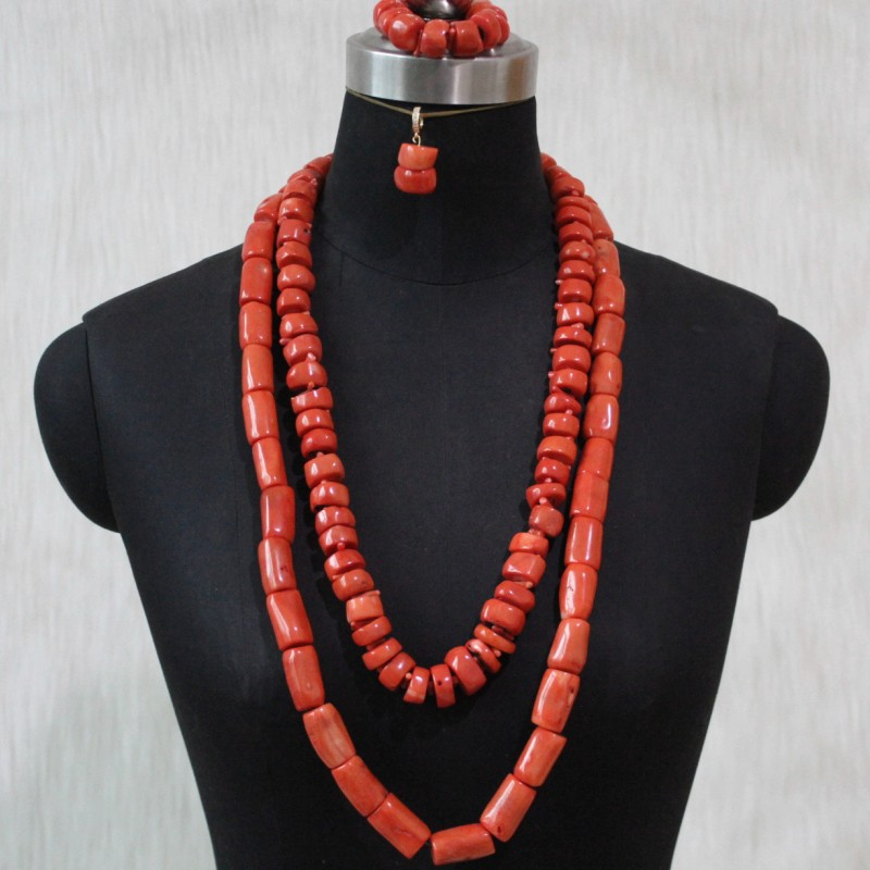 Wedding Necklace Set Nigeria 2 Layers 13mm 32 Inches African Beads Bridal Jewelry Set Orange Real Coral Beads Free Shipping 2020