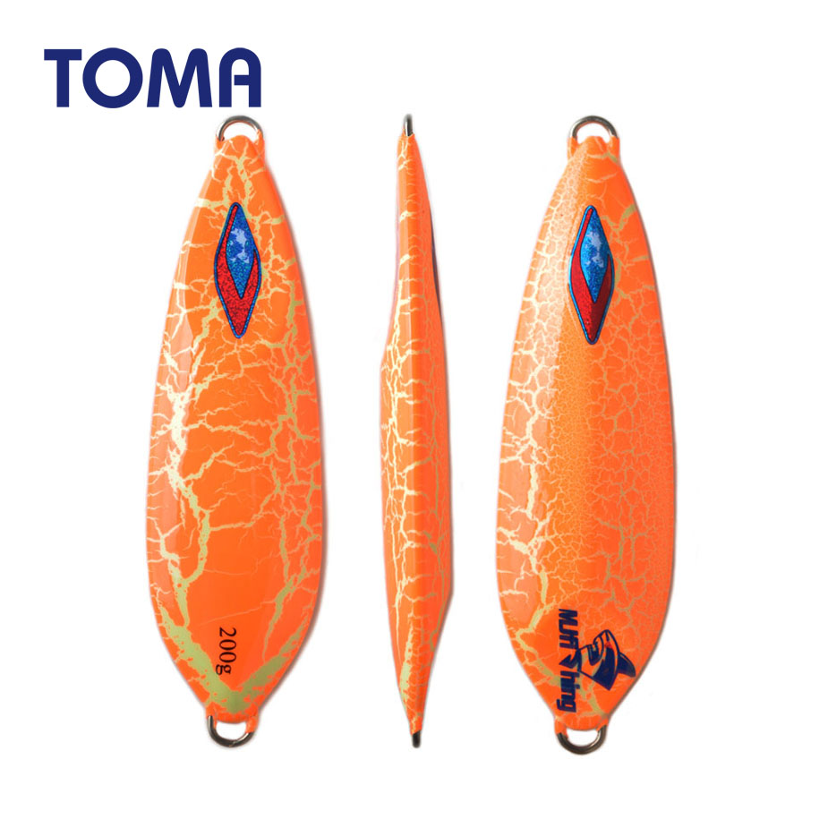 TOMA 1pc Lead Metal Jig 200g 300g Slow Pitch Jigging Fishing Lures Saltwater Glow Luminous Sea Fishing Artificial Lures Tackle image