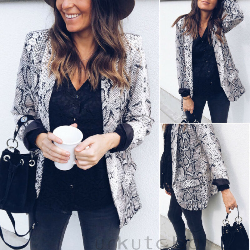 Women's Slim OL Suit Casual Python Blazer Long Sleeve Jacket Coat Tops Outwear