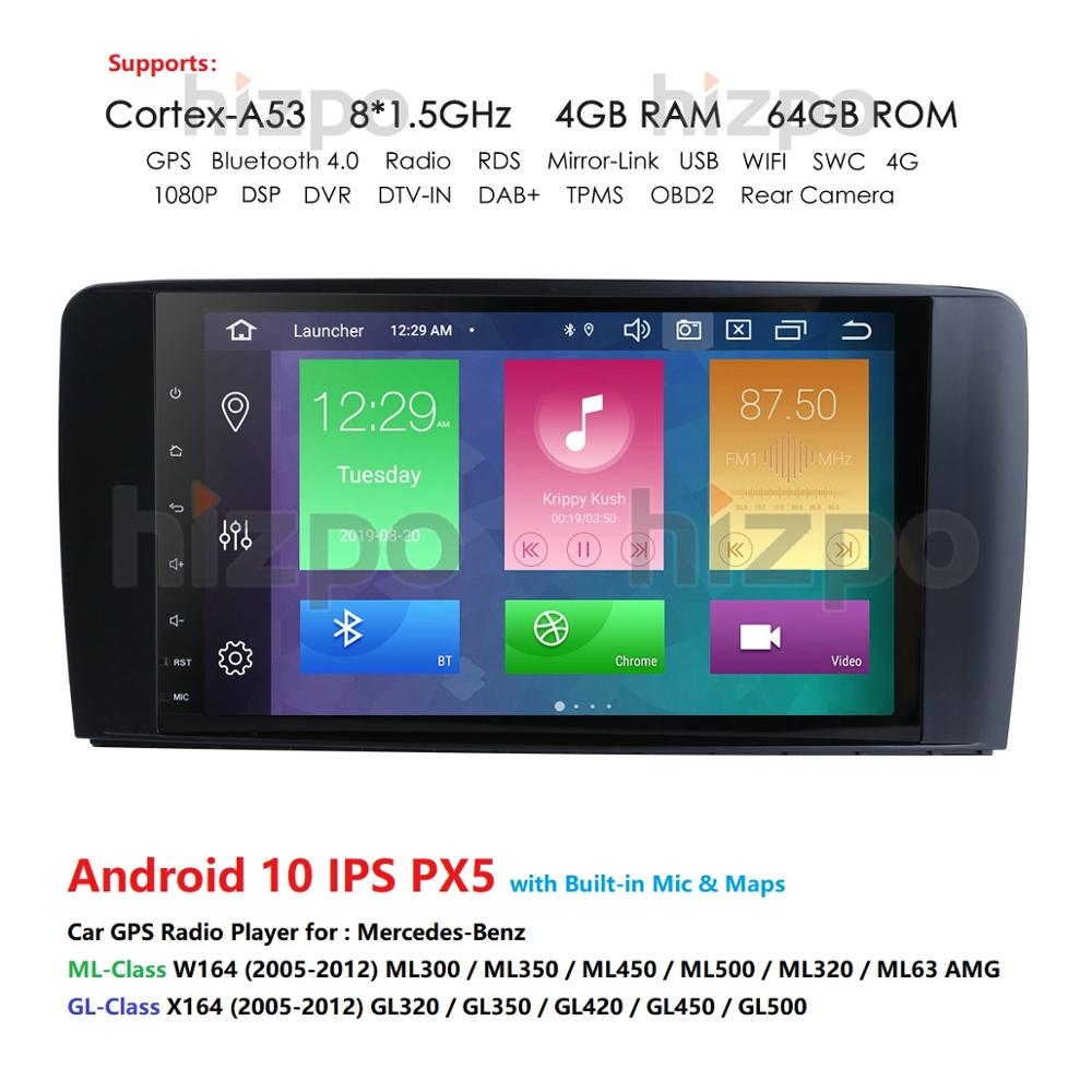 Android 10 4G 64G car GPS For <font><b>Mercedes</b></font> Benz <font><b>ML</b></font> GL <font><b>W164</b></font> ML350 ML500 GL320 X164 GL350 GL450 <font><b>radio</b></font> stereo navigation NO DVD image