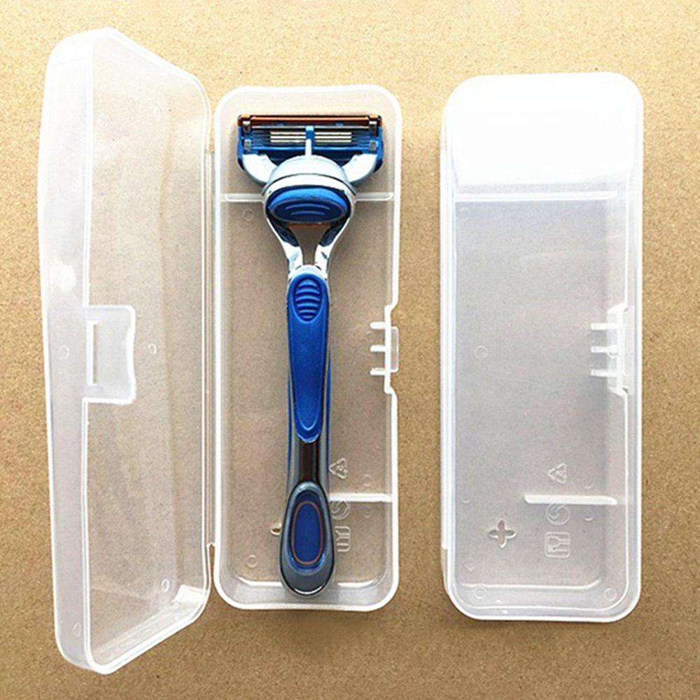 1Pcs Portable Men Shaving Box Razor Transparent Plastic Travel Case Universal Tool Holder Manual Razor Cartridge Storage Box