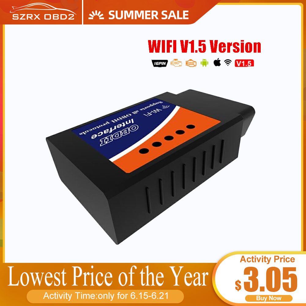 ELM327 WIFI Universal OBD2 WIFI ELM327 V 1 5 Scanner for iPhone IOS Auto OBDII Scan Tool OBD 2 ODB II ELM 327 V1 5 WI-FI ODB2