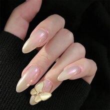 24 шт Аврора накладные ногти длинные французские нажмите на