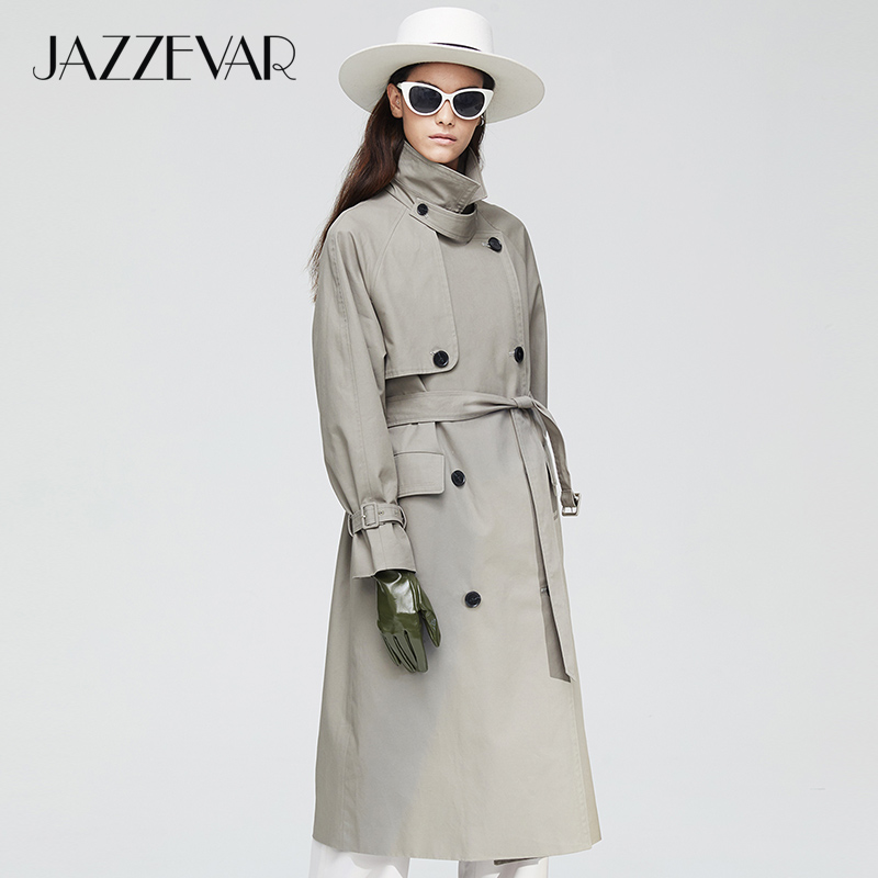 JAZZEVAR2019 New arrival autumn trench coat women top khaki color long cotton outwear loose clothing with belt fashion coat 9019(China)