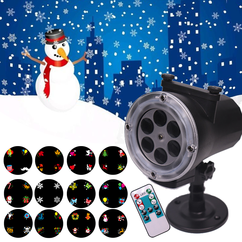 WUZSTAR 12 Patterns Outdoor Waterproof LED Christmas Snowflake Projector Spotlight Birthday Halloween Wedding Decoration Lights