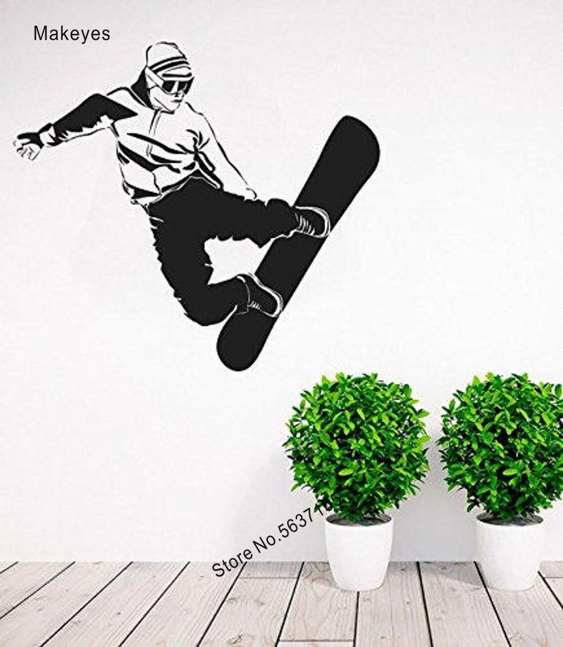 Makeyes-pegatinas de pared de snowboring para invierno, calcomanía de pared de deportes, decoración fresca de vinilo, murales de pared, papel tapiz para salón Q685