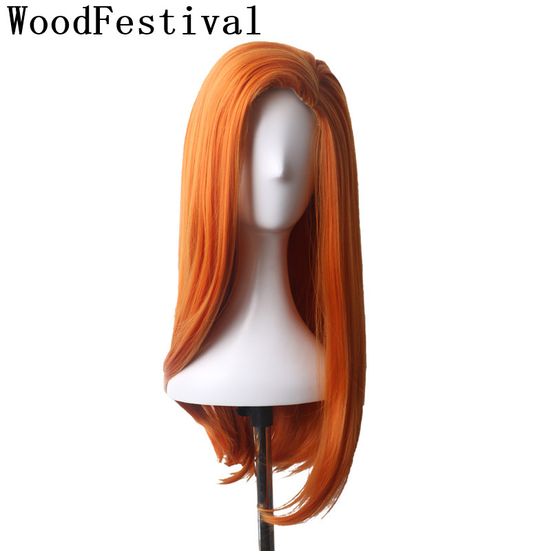 WoodFestival Orange Anime Cosplay Wig Long Straight Heat Resistant Fiber Synthetic Wigs For Women Party