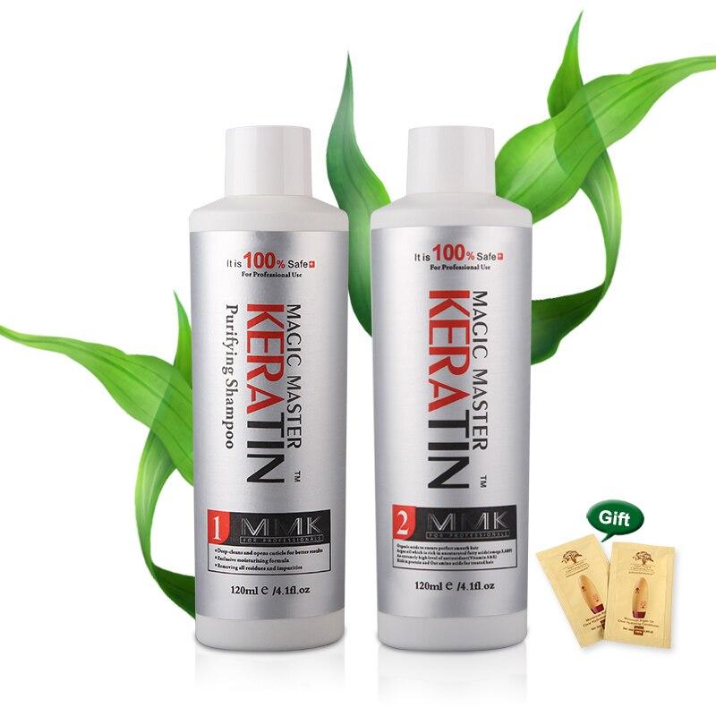Beste verkauf MMK Keratin Haar Behandlung Natürliche coconut geruch Freies Formalin 120ml Magie Master Keratin + 120ml Reinigende shampoo