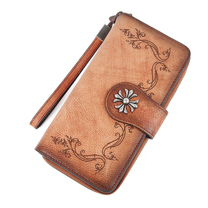 Women Wallet Genuine Leather ID/Credit Cards Holder Handy Bag Multi-Purpose Printing Retro Female Wrist Clutch Bags Long Purse(China)