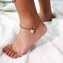 Ingemark 2019 New Fashion Lock Pendant Anklets for Women Beach Barefoot Love Padlock Best Bracelet Anklet Foot Couple Jewelry