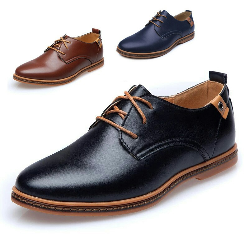 2019 Casual Men Leather Shoes Lace up Men Flats Round Toe Office Male Dress Shoes Plus Size 38 48 Oxfords Shoes Comfortable in Men 39 s Casual Shoes from Shoes