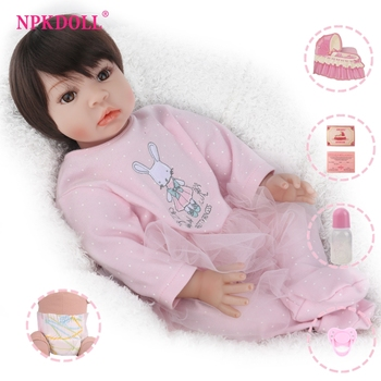 22inch pink bebe reborn dolls soft body silicone reborn baby doll toddler girl alive playmate toys gift NPK DOLL