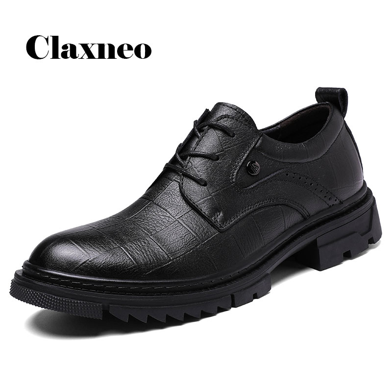 CLAXNEO Man Oxfords Genuine Leather 2020 Spring Male Dress Shoes High Increase Clax Men's Derby Footwear Brand Big Size