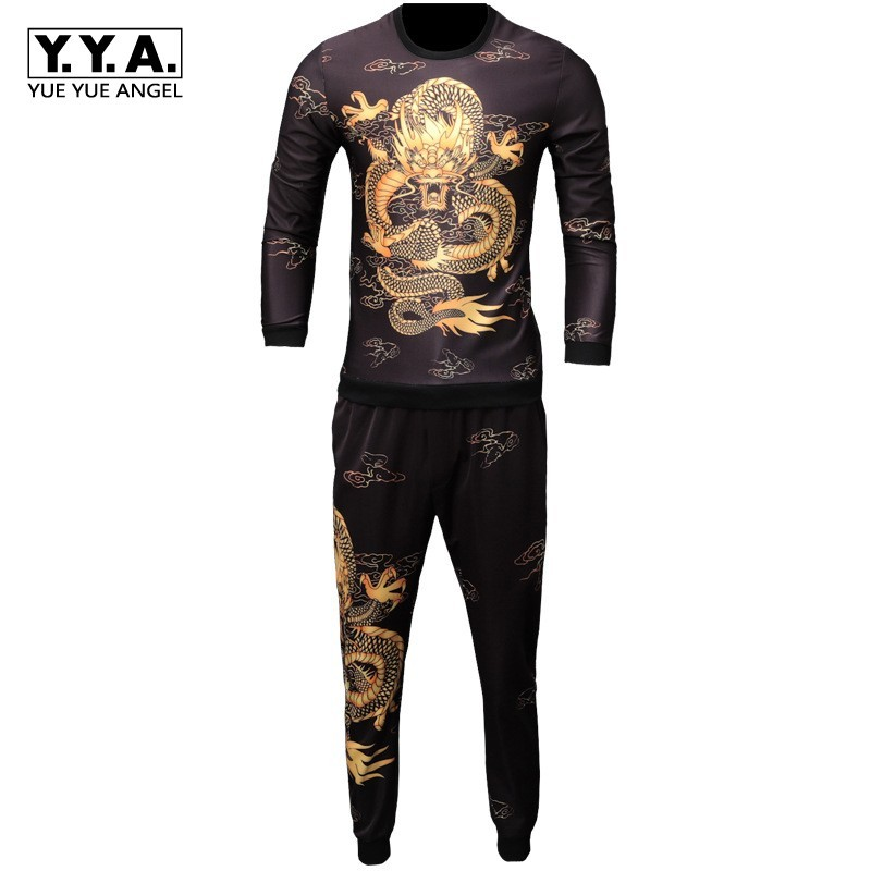 2020 New Autumn Men Sets Fashion Printing Long Sleeve T-shirt Ankle-Length Pants Two Pieces Sets Casual Mens Tracksuit Plus Size