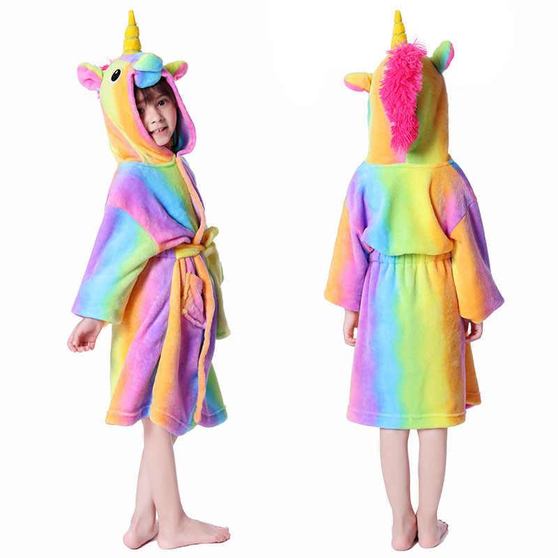 Nuovo Inverno Grandi Ragazzi Delle Ragazze Da Bagno Accappatoio Per Bambini Unicorno Con Cappuccio Pigiama di Flanella Allungare Accappatoi per Adolescenti Ragazzo Del Fumetto Pigiama